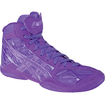 Hit the mat with purple and pink wrestling shoes!